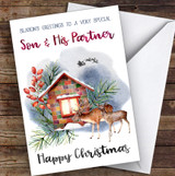 Watercolour Deer To Very Special Son & His Partner Personalised Christmas Card