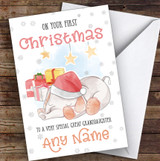 Baby Elephant First Christmas Great Granddaughter Personalised Christmas Card