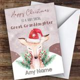 Watercolour Reindeer Special Great Granddaughter Personalised Christmas Card