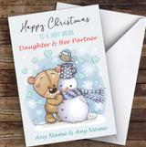 Bear & Snowman Romantic Daughter & Her Partner Personalised Christmas Card
