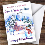 Watercolour Snowman Special Son & Son-In-Law Personalised Christmas Card