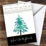 Sister & Her Boyfriend Modern Christmas Lights & Tree Christmas Card