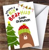 Step Grandson Sending A Big Bear Hug Personalised Christmas Card
