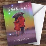 Husband Beautiful Couple Snow Scene Personalised Christmas Card