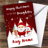 Red Santa Snowman Special Daughter Personalised Christmas Card