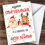 Cute Santa & Reindeer Peeping Son Personalised Christmas Card