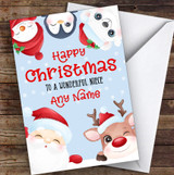 Cute Christmas Characters Niece Personalised Christmas Card