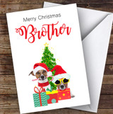 Brother Christmas Party Dogs Personalised Christmas Card