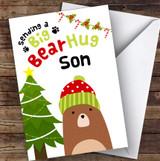 Son Sending A Big Bear Hug Personalised Christmas Card