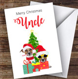Uncle Christmas Party Dogs Personalised Christmas Card
