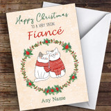 Cute Cats Romantic Fiancé Personalised Christmas Card