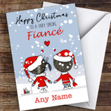 Snowy Scene Couple Fiancé Personalised Christmas Card