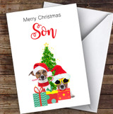 Son Christmas Party Dogs Personalised Christmas Card