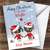Snowy Scene Couple Wife Personalised Christmas Card