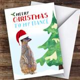 Fiancé Meery Christmas Personalised Christmas Card