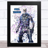 Splatter Art Gaming Fortnite Skull Trooper Kid's Room Children's Wall Art Print