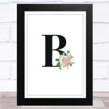 Initial Letter B With Flowers Wall Art Print