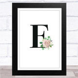 Initial Letter E With Flowers Wall Art Print