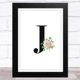 Initial Letter J With Flowers Wall Art Print