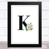 Initial Letter K With Flowers Wall Art Print