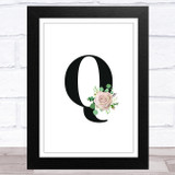 Initial Letter Q With Flowers Wall Art Print
