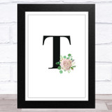 Initial Letter T With Flowers Wall Art Print