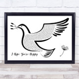Blue October I Hope You're Happy Black & White Dove Bird Song Lyric Music Art Print