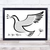 Wiz Khalifa See You Again Black & White Dove Bird Song Lyric Music Art Print
