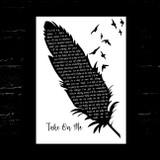 A-ha Take On Me Black & White Feather & Birds Song Lyric Music Art Print