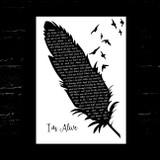 Celine Dion I'm Alive Black & White Feather & Birds Song Lyric Music Art Print