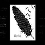 Kodaline The One Black & White Feather & Birds Song Lyric Music Art Print