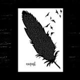 Taylor Swift august Black & White Feather & Birds Song Lyric Music Art Print