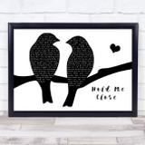 David Essex Hold Me Close Lovebirds Black & White Song Lyric Music Art Print