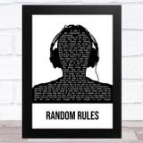 Silver Jews Random Rules Black & White Man Headphones Song Lyric Music Art Print