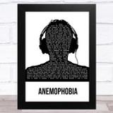 Deaf Havana Anemophobia Black & White Man Headphones Song Lyric Music Art Print