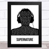 Erasure Supernature Black & White Man Headphones Song Lyric Music Art Print