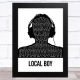 The Rifles Local Boy Black & White Man Headphones Song Lyric Music Art Print
