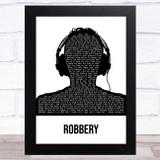 Juice WRLD Robbery Black & White Man Headphones Song Lyric Music Art Print