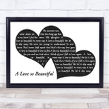 Michael Bolton A Love so Beautiful Landscape Black & White Two Hearts Song Lyric Music Art Print