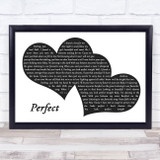 Ed Sheeran Perfect Landscape Black & White Two Hearts Song Lyric Music Art Print