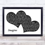 John Lennon Imagine Landscape Black & White Two Hearts Song Lyric Music Art Print