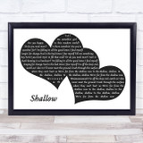 Lady Gaga & Bradley Cooper Shallow Landscape Black & White Two Hearts Song Lyric Music Art Print