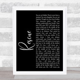 Lauren Daigle Rescue Black Script Song Lyric Music Art Print