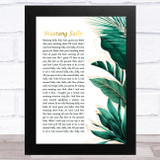 The Commitments Mustang Sally Gold Green Botanical Leaves Side Script Song Lyric Music Art Print