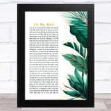 Prince Do Me, Baby Gold Green Botanical Leaves Side Script Song Lyric Music Art Print