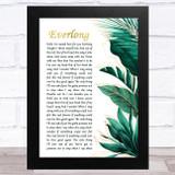 Foo Fighters Everlong Gold Green Botanical Leaves Side Script Song Lyric Music Art Print