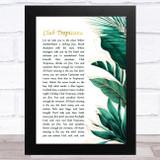 Wham! Club Tropicana Gold Green Botanical Leaves Side Script Song Lyric Music Art Print