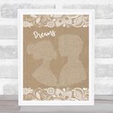 Boyz II Men Dreams Burlap & Lace Song Lyric Music Art Print