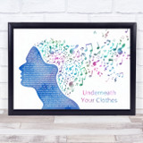 Shakira Underneath Your Clothes Colourful Music Note Hair Song Lyric Music Art Print