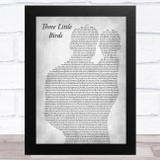 Bob Marley Three Little Birds Father & Baby Grey Song Lyric Music Art Print